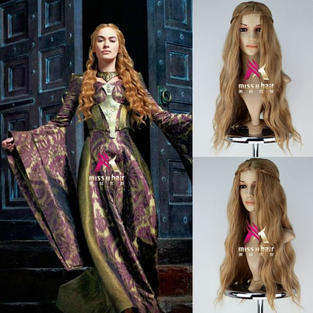 New Movie Game of Thrones Actress Cersei Lannister Wig Long Wavy Brown Wig with braid Cosplay Anime wig