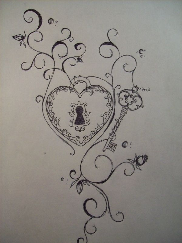 lock and key tattoos – would love to some how add this around my kids names on my ribs by christian