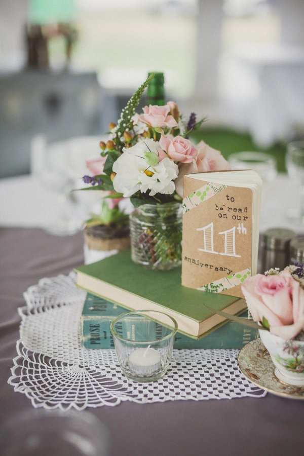 Neat idea: Table numbers = books for guests to write messages in, to be read on that number anniversary. Photography By / ameris.ca, Event Planning By / freshviewevents.com