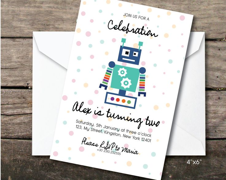 robot birthday party invitation, Printable and printed, second birthday boy, paper and party supplies, thank you card, robot party by BeePrintDesigns on Etsy