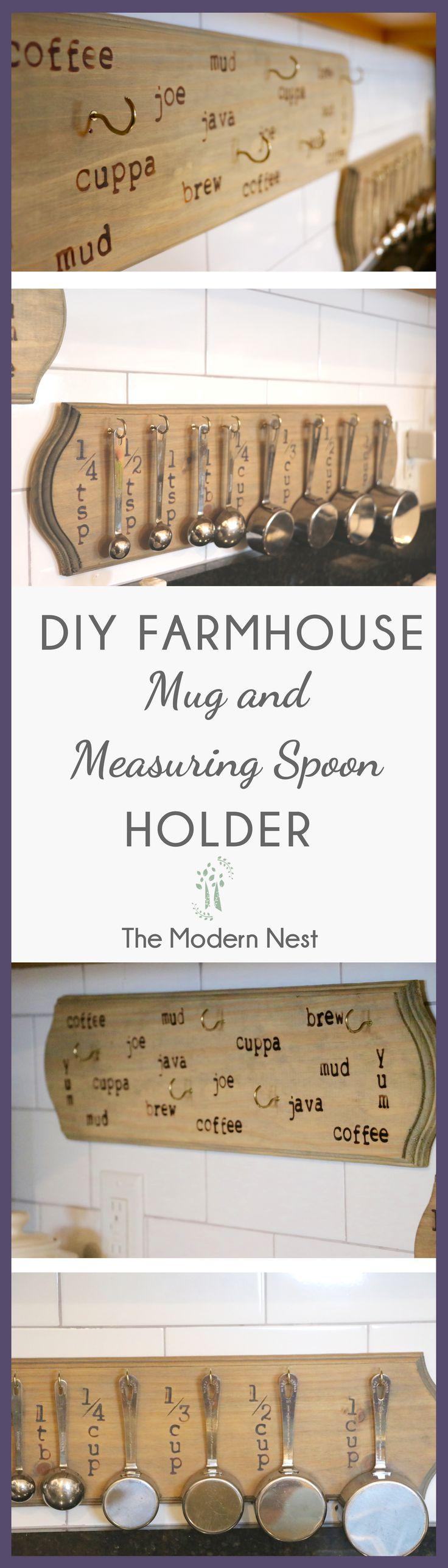 Fun and easy DIY farmhouse mug holder or measuring spoon holder! Check out https://www.themodernnestblog.com/?p=70 for the full DIY tutorial!