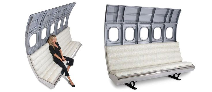 Fuselage 3-wide Seating incorporates fuselage and re-upholstered three-wide airline seating where each side is an isle location. Each is customized to client specifications including material of upholstery and exterior fuselage finish.