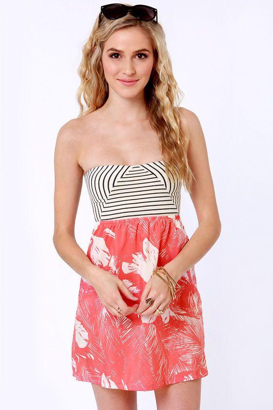 Roxy Savage 2 Dress - Strapless Dress - Print Dress - $39.50