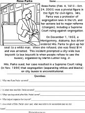 Free Printable Black History Worksheets | rosa parks printable worksheet a printable worksheet on rosa parks who ...