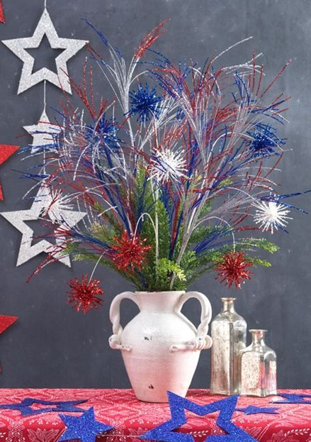 Patriotic centerpiece with raz uncle sam s hat red white