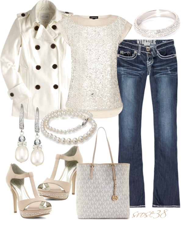 """Glitter & Pearls"" by srose38 on Polyvore: Dresses Up, Jeans Jackets, Holidays Outfits, White Coats, Saia Mini-Sequins, Black Shoes, So Pretty, Super Cute, Glitter Pearls"