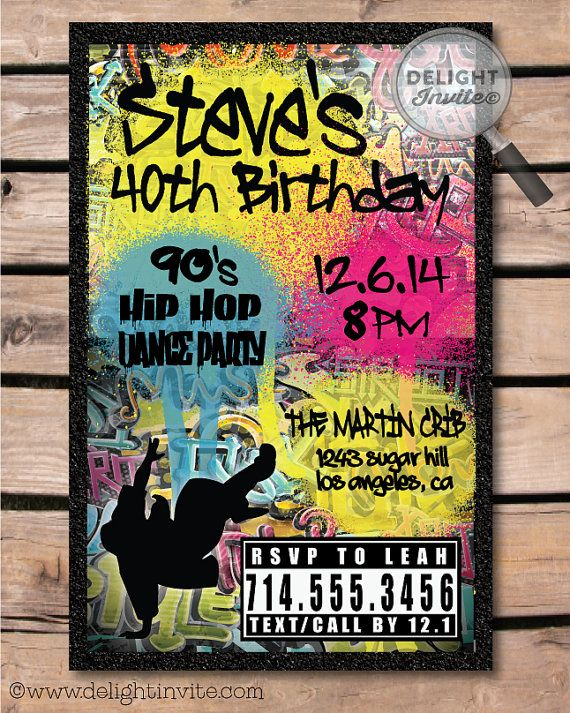 This is an awesome old school 80s-90s Hip Hop birthday invitation! Check out the super cool graffiti art and spray paint graphics!
