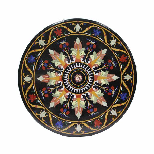 Surrealz black marble pietra dura table Inlaid with semi precious stones - lapis lazuli, jade, malachite, onyx, jasper
