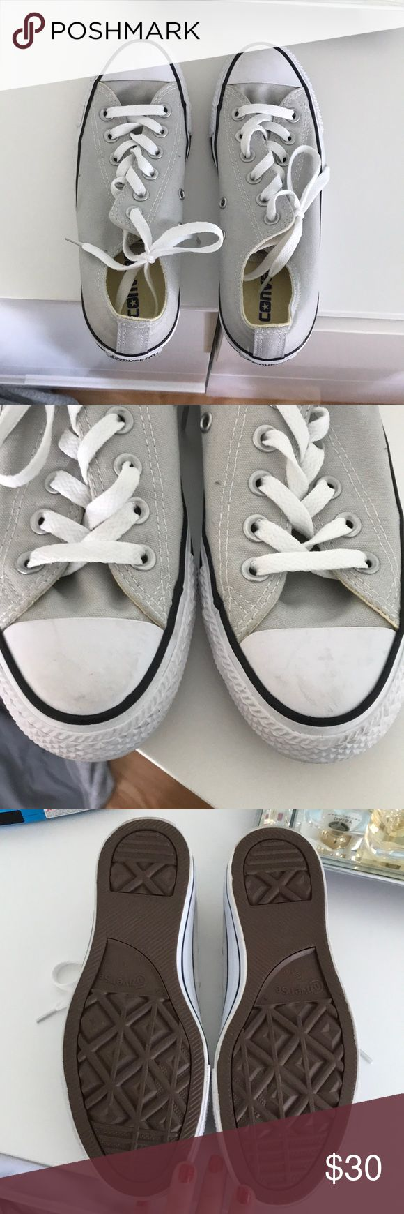 SALE Women's Converse! Light grey, gently used with minimal scuffing on the front, great condition! Unusual color for converse but works well with every outfit! Converse Shoes Sneakers