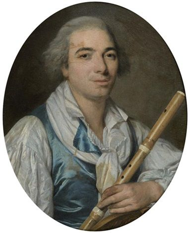 Portrait of a musician with a flute, 18th century, circle of Antoine Vestier