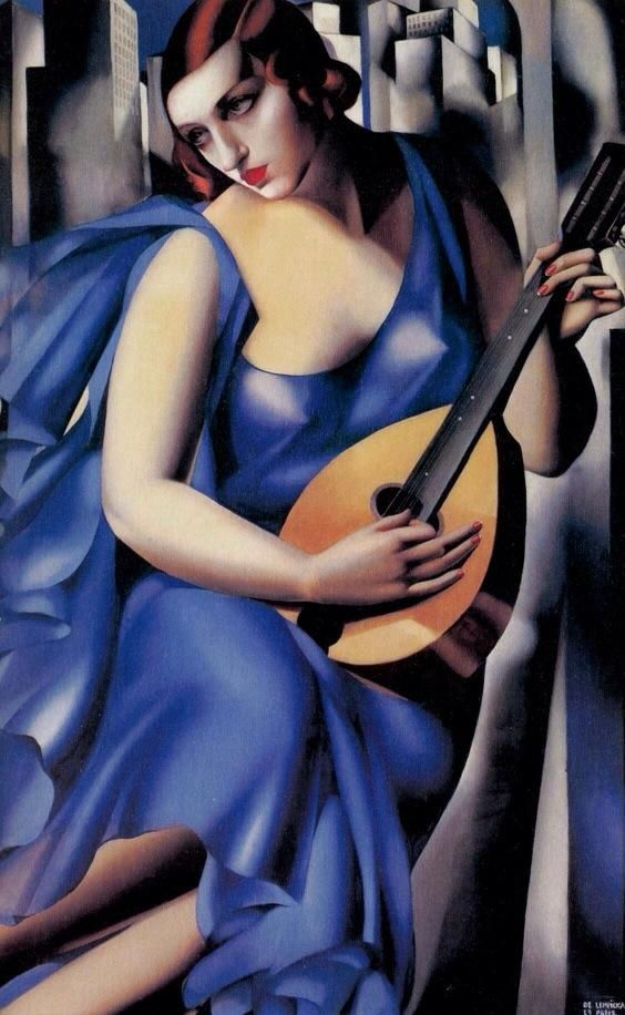 "Tamara de Lempicka (Warsaw, Poland, May 16, 1898-March 18, 1980 Cuernavaca, Mexico) ~ The Musician ~ 1929 ~ Tamara Łempicka, commonly known as Tamara de Lempicka was a Polish Art Deco painter and ""the first woman artist to be a glamour star""."