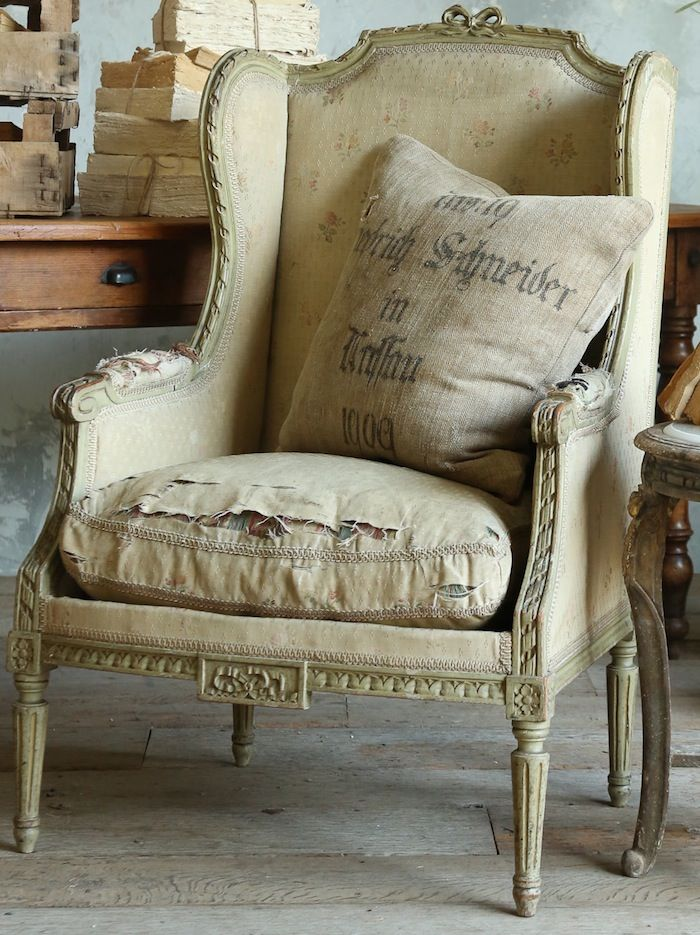 Antiqued Chair Living room antiqued chair Whitewashed Cottage chippy shabby chic french country rustic swedish decor idea.  *** Repinned from Jeri Maitland ***.