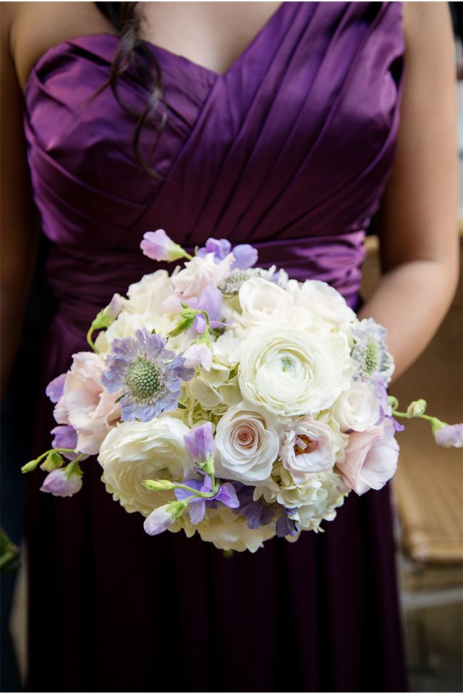 Plum Bridesmaid Dress and Lavender and Ivory Bouquet | A New Orleans Wedding at the Royal Sonesta Hotel Coordinated by Sapphire Events | Art De Vie Photography via StyleUnveiled.com