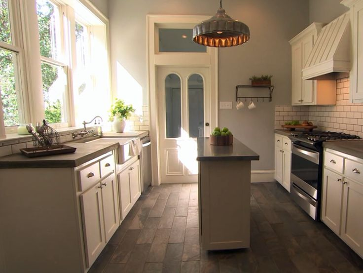 "Concrete countertops, tile wood floors - ""The Fixer Upper"" on HGTV"