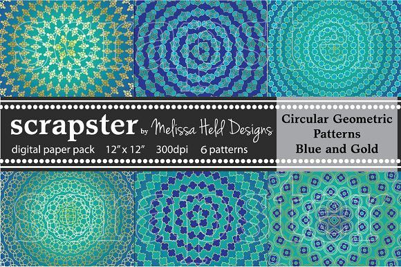Circular  Patterns: Blue & Gold. Patterns. $7.00