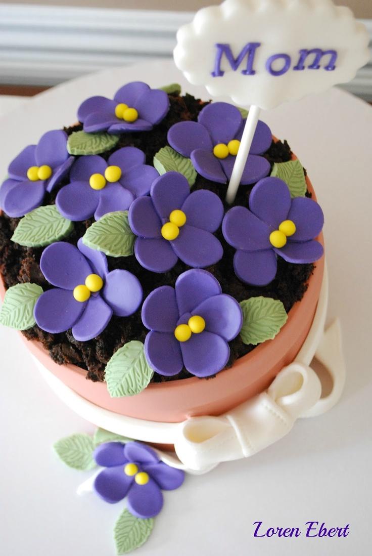 Happy Mother's Day!!Baking Shoppe, Flower Pots Cake, Fondant Ideas, Baking Sheet, Mothers Day, Happy Mothers, African Violets Cake, Cake Decor, Flower Form