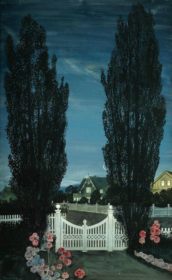 Thorolf Holmboe (1866-1935) By the gate, 1912 Gouache, inchiostro e matita su carta, 103 x 64 cm Coll.privata