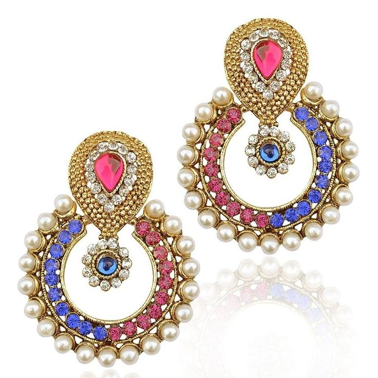 Bollywood Designer Blue Pink Stone Gold Plated Party Wear Pearl Earring #natural_gems15