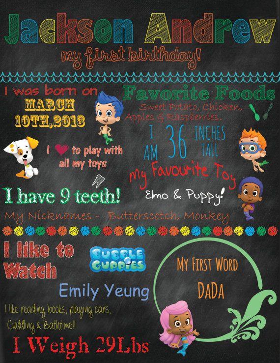 Digital Chalkboard Birthday Announcement on Etsy, $20.00 CAD