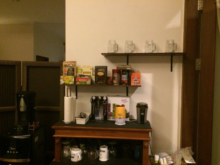 DIY floating shelves for mini coffee bar created and designed by Ardiman Ganie