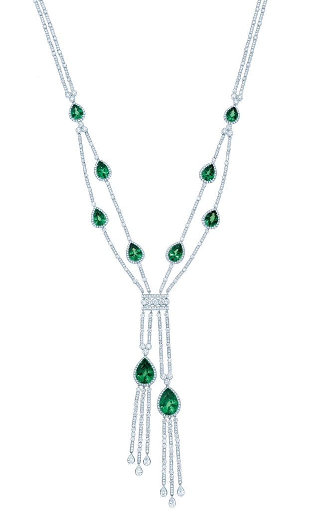 Necklace of Tsavorites with round and pear-shaped diamonds | Tiffany & Co. Blue Book Collection 2013