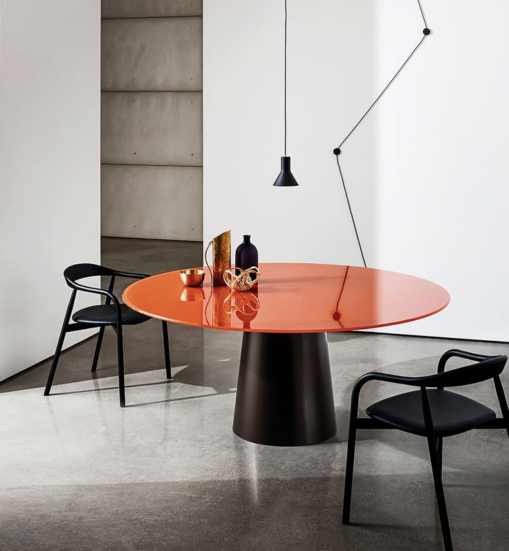 The Totem table with the new rust finish for the top and the Autumn chair in black finish. The perfect combination to enhance living spaces with a refined and minimalist style. #Sovet #design #interiordesign