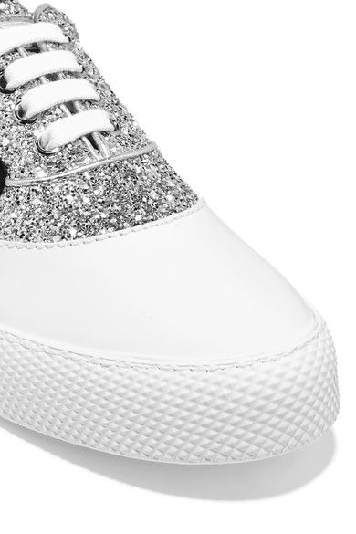 Miu Miu - Appliquéd Glittered Leather Sneakers - Silver