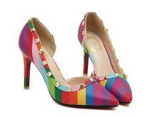 2015 New Summer Pointed Toe Women Pumps Sexy Colorful Rainbow High Quality High Heels Mixed Colors