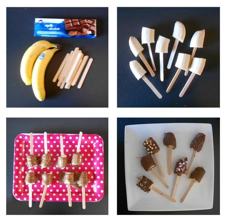 Banaan, ijslolliestokjes en chocolade...