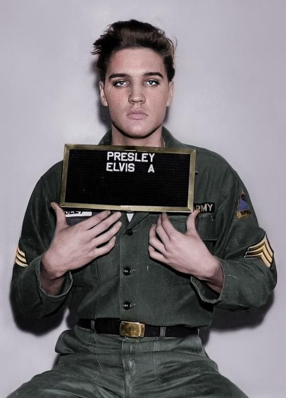 Army mugshot of Elvis from the late 1950s.