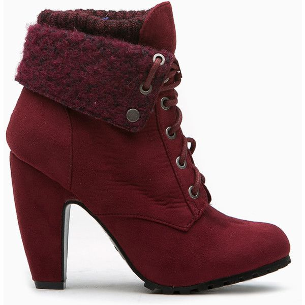 CiCiHot Burgundy Faux Suede Chunky Fold Over Lace Up Booties (1.215 UYU) ❤ liked on Polyvore featuring shoes, boots, ankle booties, ankle boots, heels, booties, heeled ankle boots, chunky heel ankle boots, chunky-heel boots and burgundy booties