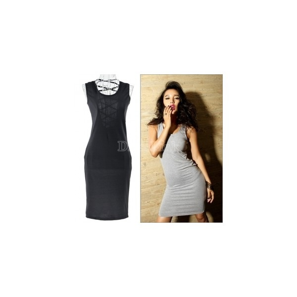 Women Sexy Back Cross Net Jersey Dress p.
