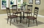 5 pc Round faux marble dining Table Set. This set includes the table and 4 side chairs. A mural of marble-finished tones, this round dining table is a kitchen's dream of contemporary life. Framed in a dark brown wood finish, its center features a