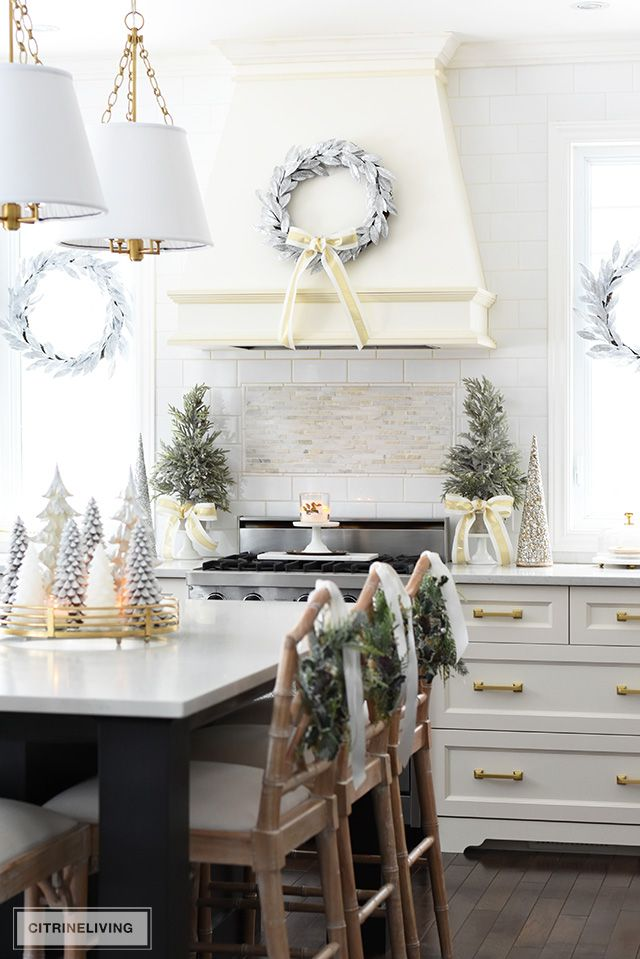 Christmas Kitchen Decorating Silver Gold Greenery Christmas Kitchen Decor Decor Diy Christmas Kitchen