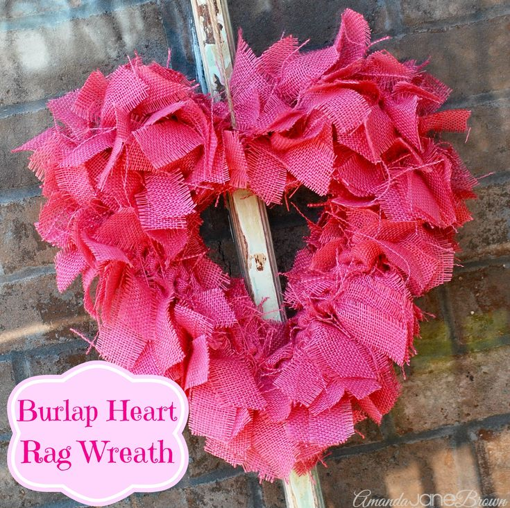 Burlap Heart Rag Wreath-AmandaJaneBrown