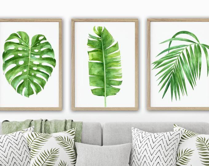 Banana Leaf Arte De La Pared Dormitorio Tropical Decoracion Etsy Tropical Bedrooms Green Bathroom Cactus Wall Art
