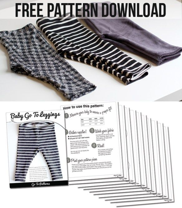 Easy to sew baby leggings pattern - free download from Go To Patterns