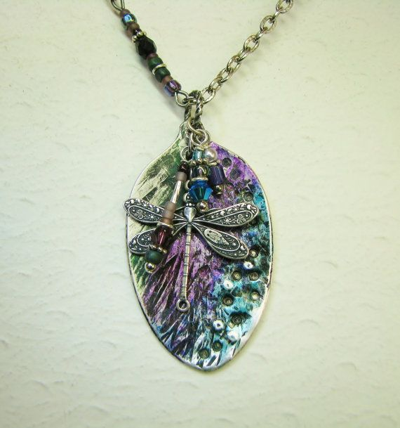 Dragonfly Spoon Necklace - hammered, textured, and lots of color.