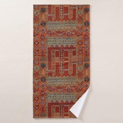 Oriental rug design in orange bath towel - antique gifts stylish cool diy custom