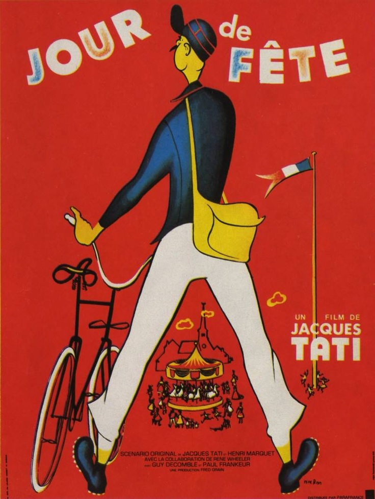 "MP601. ""Jour de fête"" French Movie Poster by René Péron (Jacques Tati 1949) / #Movieposter"