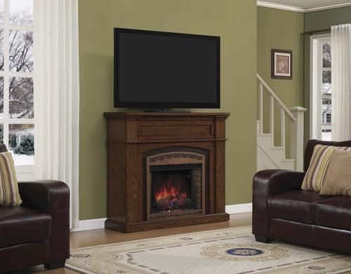 "54"" Oakwood Dual Mantel in Premium Oak. Menards® electric fireplace! My hubby spoiled me with this, we love it!"