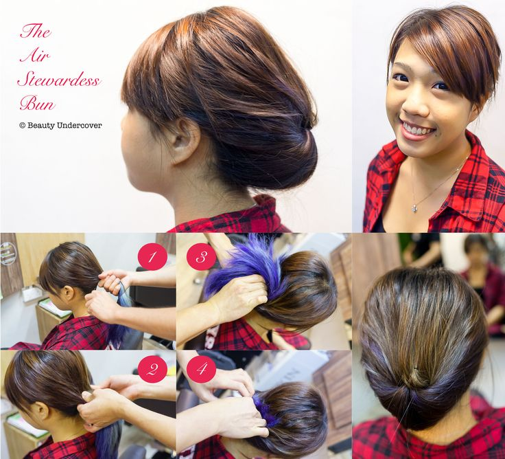 How you can do a flight attendant or air stewardess formal bun updo in less than 10 minutes!  Check the URL out for more instructions http://www.beautyundercover.sg/style-hair-10-minutes/