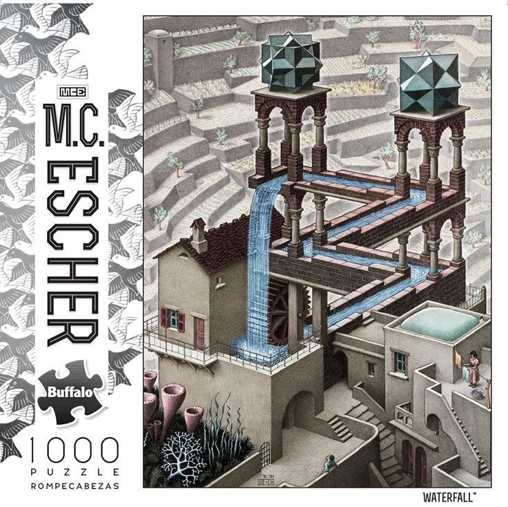 M.C. Escher Waterfall 1000 Piece Jigsaw Puzzle #mcescher #buffalogames #iamapuzzler #jigsawpuzzle