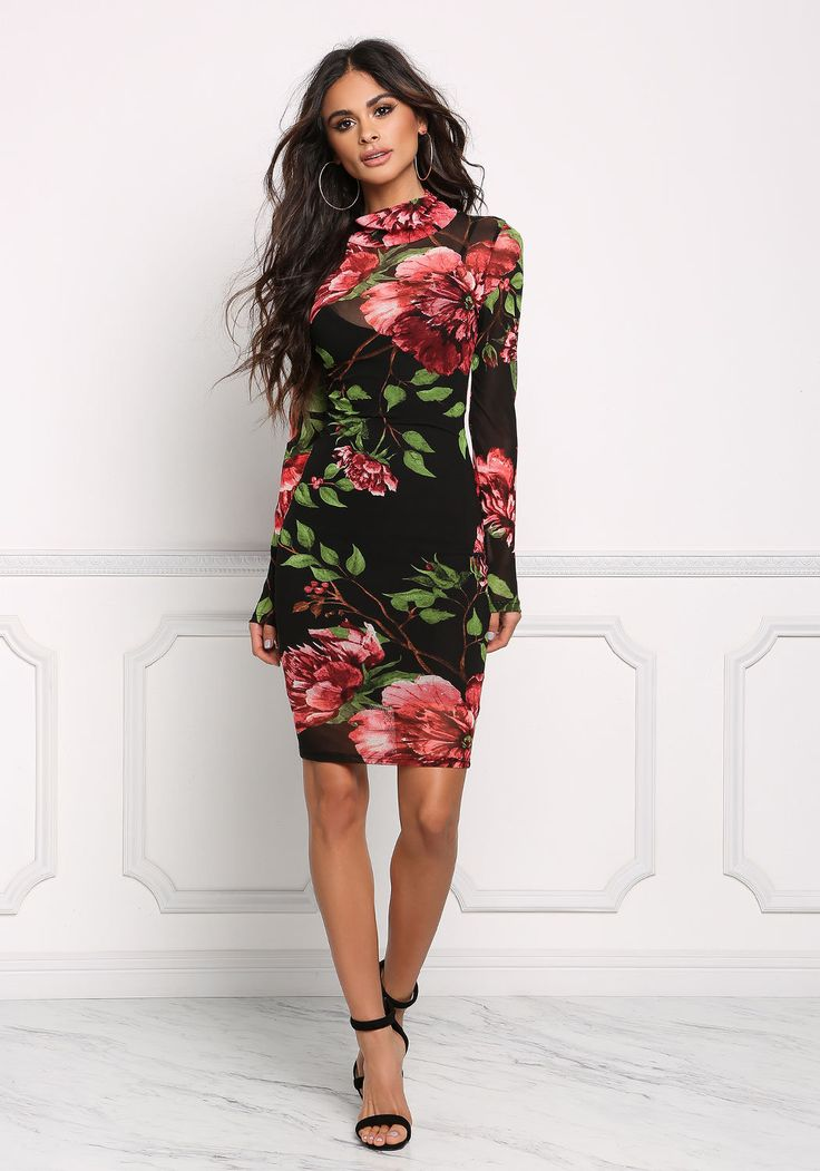 Black Floral Mesh Bodycon Dress - Dresses - Boutique Culture