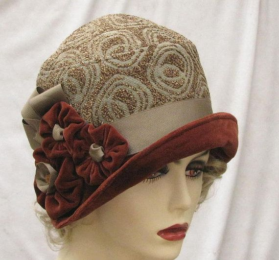 Womens Fashion Fabric Cloche Hat in Vintage 1920's Art by buygail, $120.00