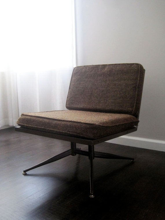 Vintage Mid Century Armless Metal Lounge Chair with by rhanvintage, $225.00