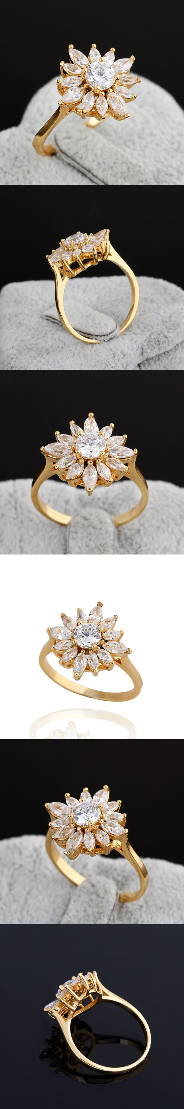 Hot Sell Delicate Rings For Women Shiny Flower Crystal Perlas Inlay Finger Ring  Gold Jewelry Romantic Wedding Jewelry   SL