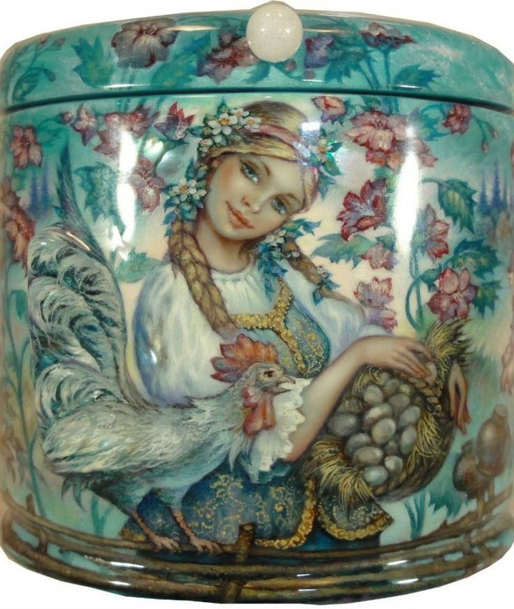 Russian lacquer miniature from the village of Fedoskino. Russian blonde beauty with long plaits holds a basket of eggs, a brave cock accompanies her.