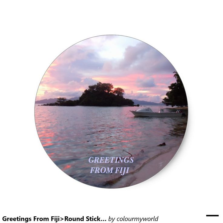 Greetings From Fiji>Round Sticker