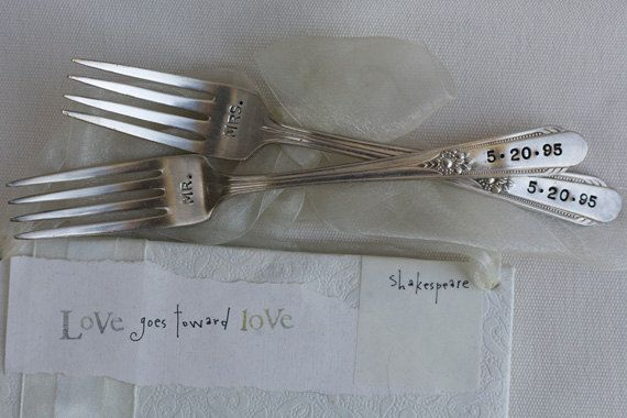 Vintage Silverware Mr. & Mrs. Sweetheart Cake Wedding Forks Reception     As Seen in The Knot. $25.00, via Etsy.
